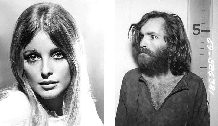 A gauche Sharon Tate, à droite Charles Manson