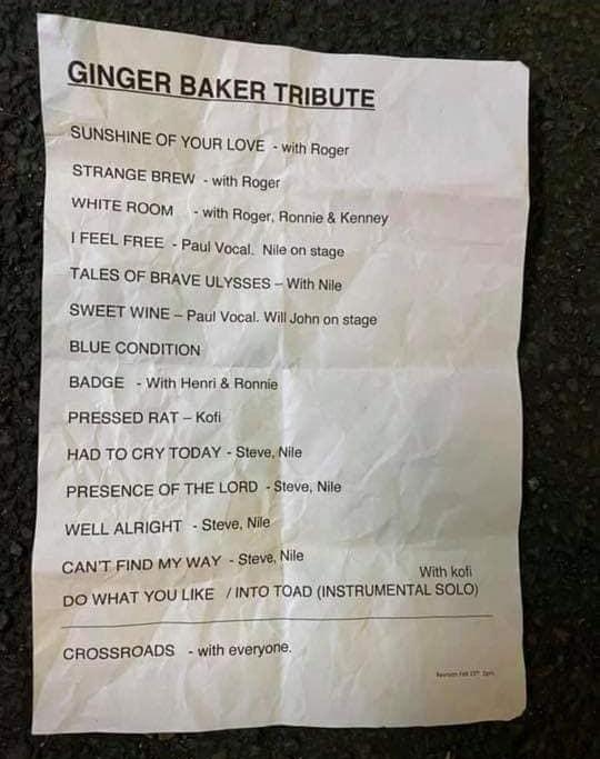 Tribute-Baker-setlist